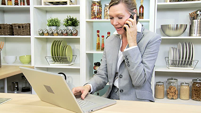 business woman on the phone and computer